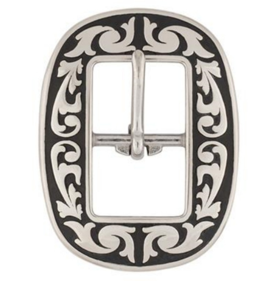 Jeremiah Watt Accented Floral Oval Centre Bar Buckle 12mm L
